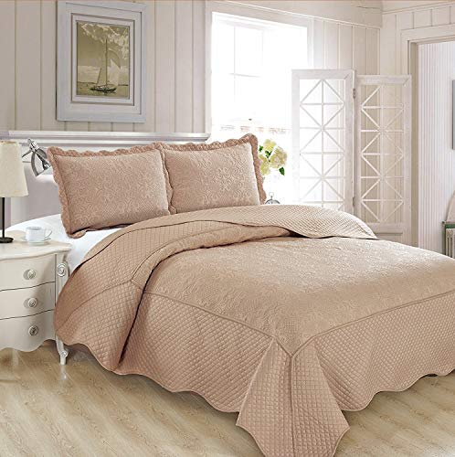 Fancy Collection 3pc Luxury Bedspread Coverlet Embossed Bed Cover Solid New Over Size #Veronica (Taupe, Full/Queen)