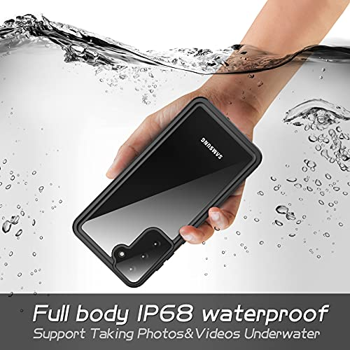 Eonfine for Samsung Galaxy S21 Waterproof Case, Clear Sound Quality Built-in Screen Protector Shockproof IP68 Waterproof Full Body Case for Samsung Galaxy S21-6.2inch (Black)