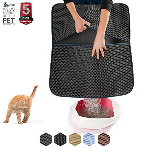 "(WePet Cat Litter Mat, Litter Trapping Mat, 30 x 25"" Large Size, Honeycomb Double Layer Design, No Phthalate, Water Urine Proof, Easy Clean, Scatter Control, Litter Catcher Locker, Kitty Litter Box Rug)"