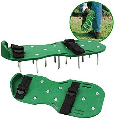 sencillo Simplemente C/ésped Cuidado Aerador Sandalias Aeratar Zapatos 30 x 13 cm Spikes Exterior Negro y Verde Botas de Botas de Perno
