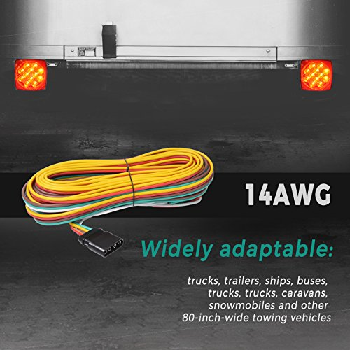 hqap 14awg 30ft upgraded trailer wiring harness kit 4-way flat  wishbone-style with