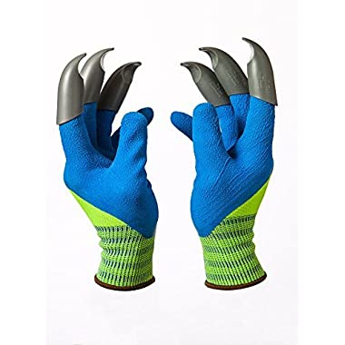 Honey Badger Garden Gloves for Digging & Planting - No More Worn Out Fingertips - Claws on BOTH Hands - Womens & Mens Unisex - PATENT PENDING