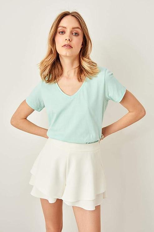 HKSADX Verde con Cuello en V Camiseta básica de algodón Moda para ...