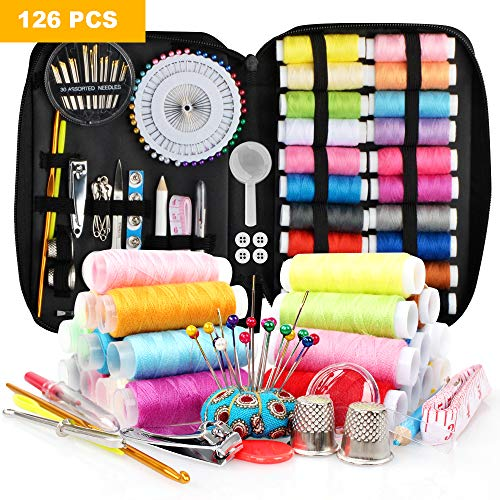Sewing Kit with 126pcs Sewing Supplies,Mini Sewing Kit for Beginner,Traveler,Adults and Emergency,Kids, with Mending Supplies and Sewing Accessories,22 Spools of Thread, 22 Colors, Carrying Case