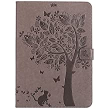 iPad Air 1st Case,Smart Magnetic Flip Embossed PU Leather Wallet Folio Stand Case Cover Auto Sleep / Wake for iPad air 1st ( Model A1474 A1475 A1476 ) - Grey
