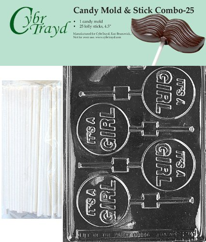 Cybrtrayd 45St25-B024 It's A Girl Lolly Chocolate Candy Mold with 25 Cybrtrayd 4.5'' Lollipop Sticks