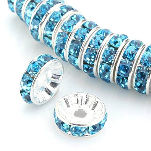 (100pcs 6mm Aqua Blue Silver Plated Copper Brass Rondelle Spacer Round Loose Beads Austrian Crystal Rhinestone for Jewelry Crafting Making CF3-610)