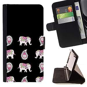For Samsung Galaxy A5 ( A5000 ) 2014 Version Case , India Negro Patrón de piel animal- la tarjeta de Crédito Slots PU Funda de cuero Monedero caso cubierta de piel