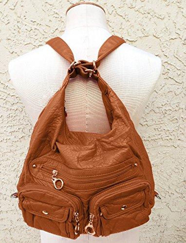 Purse Beige Handbag Strap Shoulder Brown Leather Adjustable Bag Sling Backpack 75O8wB