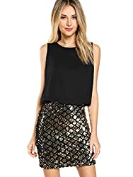 Women's Layered Look Sequin Sparkle Tank Dress
