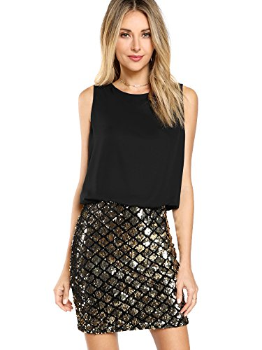 Romwe Women's Sexy Layered Look Fashion Club Wear Party Sparkle Sequin Tank Dress Black M