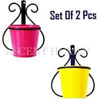 "Ascent homes Wall Mount Metal Planters Stand with Round Galvanized Bucket Planter (5.5 "" x 7.7"" x 9.5"", Multicolour) -Set of 2 Pieces"
