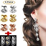 Hypoallergenic Earring Lifts, 3 pairs - Adjustable Earing Lifters For Drooping Earrings with 3 Pairs of Clutch Earrings Back Support – Gold, Silver & Rose Gold Plated Earlifters Set