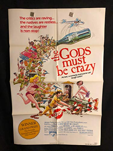 The Gods Must Be Crazy 1980 Original Vintage One Sheet Movie Poster, African, Comedy, N!xau, XAO