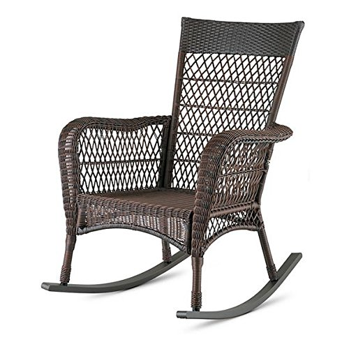 Dark Brown Traditional Classic Wicker Porch Rocker Rocking Chair Outdoor Patio Garden Furniture