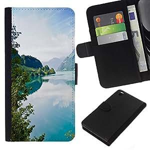 NEECELL GIFT forCITY // Billetera de cuero Caso Cubierta de protección Carcasa / Leather Wallet Case for HTC DESIRE 816 // Tourquise Blue Lake