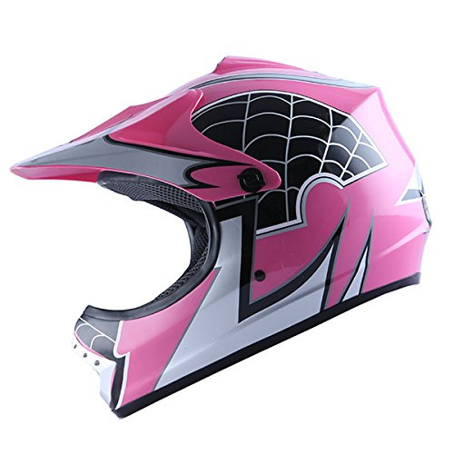 WOW Youth Kids Motocross BMX MX ATV Dirt Bike Helmet Spider Pink