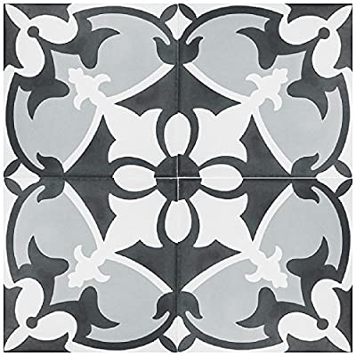 "Rustico Tile and Stone RTS17 Sofia Cement Tile Pack of 13, 8"" x 8, Black/Gray/White"