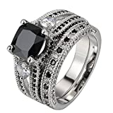 FENDINA Womens Luxurious 18K White Gold Plated Wedding Engagement Rings Princess Cut 2.5ct Created Black Diamond Solitaire Anniversary Promise Rings Set, 5