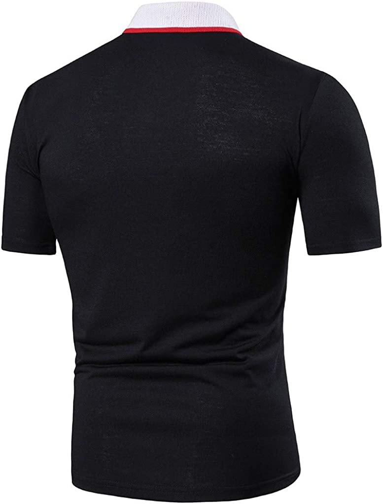 Mens T-Shirt Short Sleeve Patchwork Tops Pullover Fitness Athletic Slim Fit Shirts Summer Tee