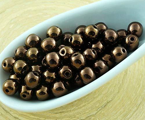 100pcs Metallic Light Bronze Luster Round Druk Pressed Czech Glass Beads Small Spacer 4mm