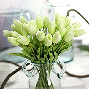 Mynse 10 Pieces Fake Flowers for Thanksgiving Christmas Home Decor Artificial Flowers Mini Tulips 43