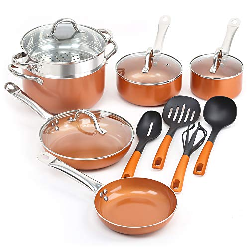 SHINEURI 14 Pieces Nonstick Ceramic Copper Cookware Set - 8/9.5 inch Fry Pans and Kitchen Cooking Utensils, Sauce pan and Stainless Steel Steamer & Glass lid for Induction, Gas, Electric & Stovetops ()