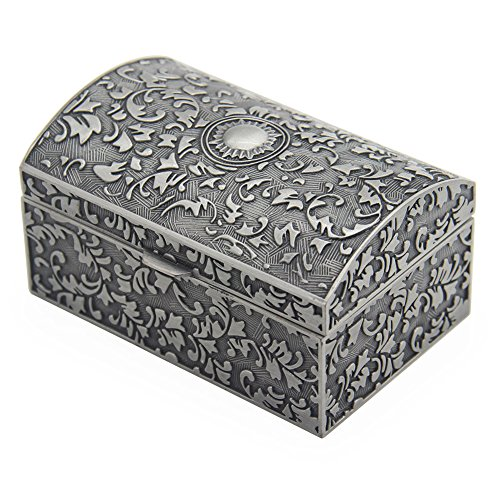 Vintage Metal Jewelry Box Small Trinket Storage Organizer Box Chest Ring Case for Girls Women, Tin Color (Storage Trinket Box)
