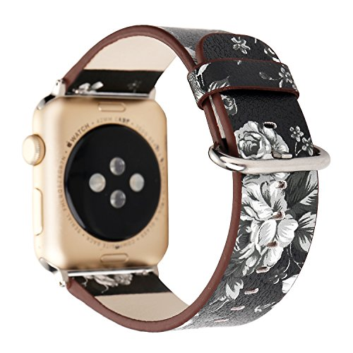 TCSHOW 40mm 38mm Soft PU Leather Pastoral/Rural Style Replacement Strap Wrist Band with Silver Metal Adapter Compatible for Apple Watch Series 4(40mm)/iWatch Series 3/2/1(38mm) (E)