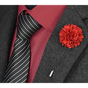 USIX 10PC Pack-Handmade Men's Lapel Pin Fabric Flower Decor Boutonniere Pin for Suit Wedding Groom Groomsmen Brooch Rose Boutonniere 51
