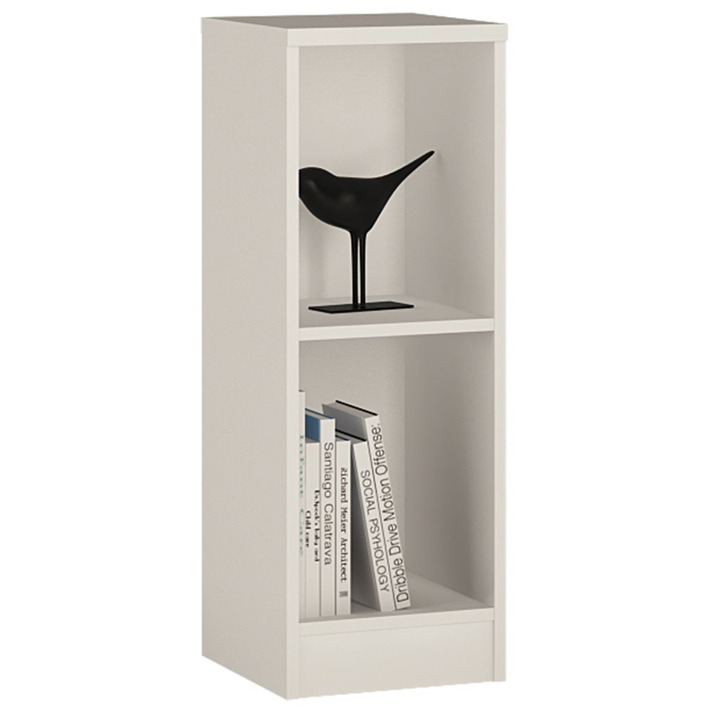 Furniture To Go 4 YOU Low Narrow Bookcase with Melamine, 30 x 86 x 35 cm, Pearl White Wojcik 4059421