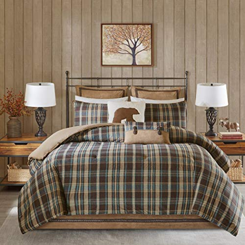 (4 Piece Brown Beige Madras Plaid Theme Comforter Queen Set, Beautiful Lumberjack Checkered Pattern, Lodge Cabin Hunting Themed, Classic Country Style, Southwest Tartan Check Log Cottage, Cozy Colors)