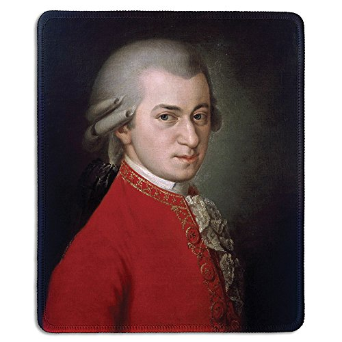 dealzEpic - Art Mousepad - Natural Rubber Mouse Pad with Famous Fine Art Painting of Portrait of Wolfgang Amadeus Mozart by Barbara Krafft - Stitched Edges - 9.5x7.9 inches