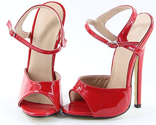 WONDERHEEL stilleto ankle strap high heel Rot Lackleder fetish women Sandalen