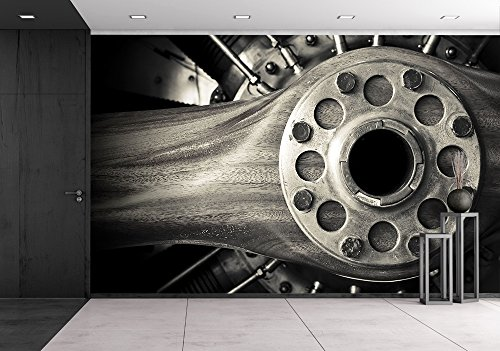 (wall26 - Wooden Aircraft Propeller and Engine Cylinders - Removable Wall Mural | Self-adhesive Large Wallpaper - 66x96 inches)