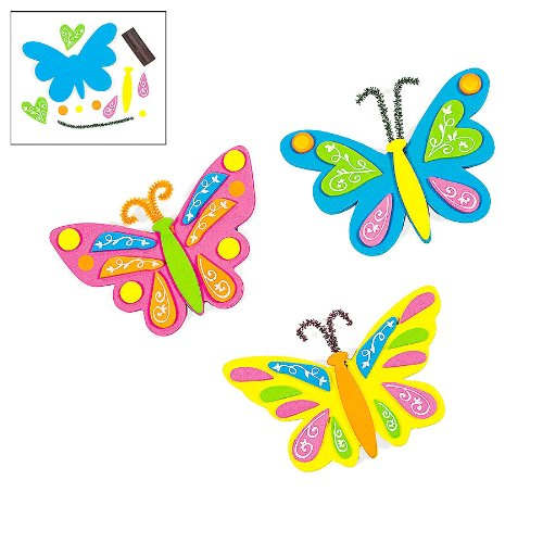 Butterfly Foam Magnets Craft Kits (1 dz)