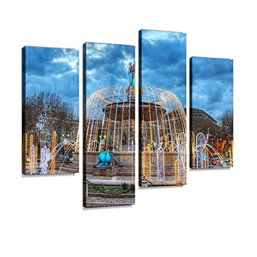 Roundabout at Dusk in Aix-en-Provence, France Canvas Wall Art Hanging Paintings Modern Artwork Abstract Picture Prints Home Decoration Gift Unique Designed Framed 4 Panel