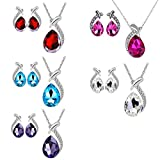 Clearance! Napoo Women Vintage Crystal Pendant Silver Plated Chain Necklace Earring Jewelry Set