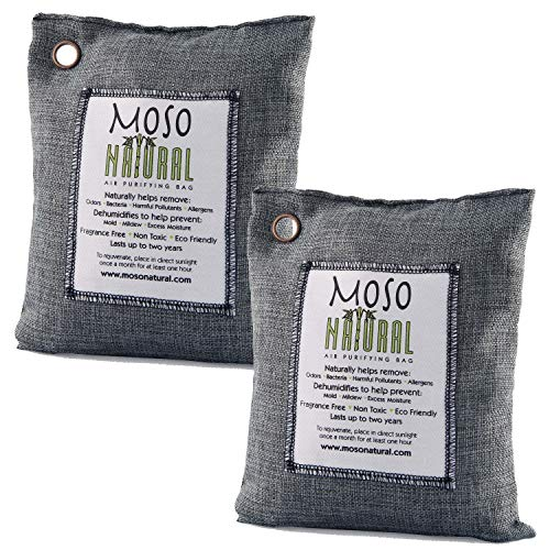 2 pack Moso Natural 500 gm Air Purifying Bag Deodorizer. Odor Eliminator for Kitchens, Living Areas, Bedrooms and Basements. Absorbs and Eliminates Odors. Charcoal Color