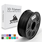Dark Black PLA 3D Printer Filament 1.75 mm 1KG Spool, Dimensional Accuracy +/- 0.02 mm - No Clogging