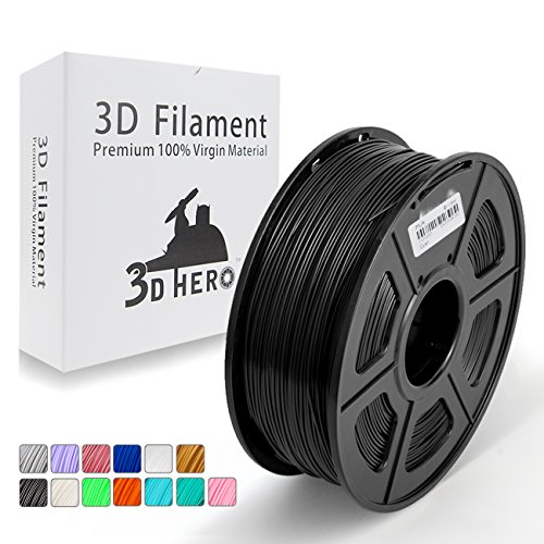 Dark Black PLA 3D Printer Filament 1.75 mm 1KG Spool, Dimensional Accuracy +/- 0.02 mm - No Clogging by 3D Hero