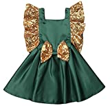 Toddler Baby Girl Party Tutu Dress Gold Sequin Ruffles Sleeve Princess Dress Bowkont Backless Vintage Wedding Dress (2-3T, Green)