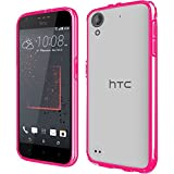 HR Wireless Ultra Slim Hard Crystal Clear Transparent Fused TPU Case for HTC Desire 530 - Clear/Hot Pink