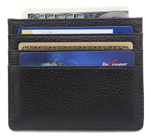 DEEZOMO Genuine Leather RFID Blocking Card Case Wallet Slim Super Thin 6 Card Slots Compact Wallet - Black
