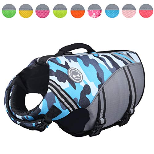 Vivaglory New Sports Style Ripstop Dog Life Jacket with Superior Buoyancy & Rescue Handle, Camo Blue, L