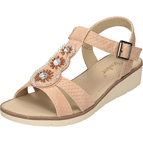 Dr Keller Slingback Wedge Low Heel Open Toe Sandals Nude