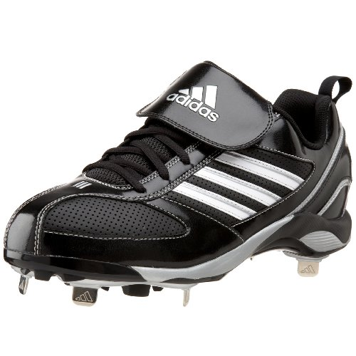 (adidas Men's Diamond King 9 Metal Baseball Cleat,Black/White/Silver,10 M)