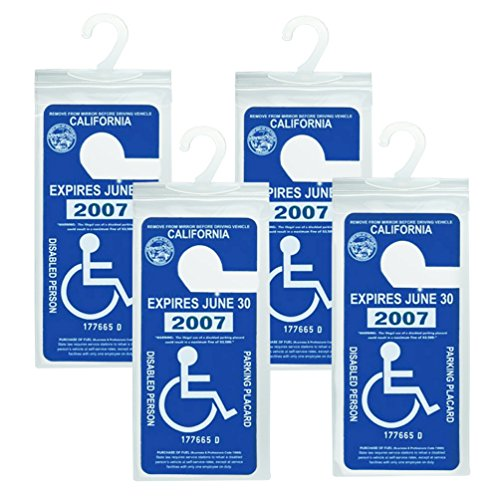 Permit Tags (Handicapped Parking Placard Holder - Disabled Placard Protective Mirror Tag Holder with Larger Hanger by Tbuymax(Set of 4))