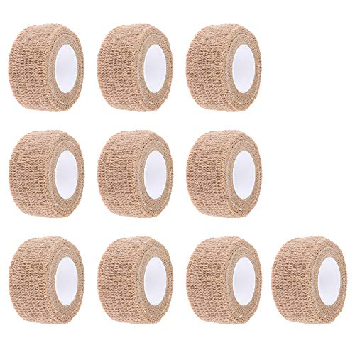 ESUPPORT 1 Inches X 5 Yards Skin Self Adherent Cohesive Wrap Bandages Adhesive Wounds Strong Elastic First Aid Tape for Sport Wrist Ankle 10 Count