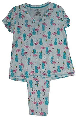 e328db1f80 Secret Treasures Flamingos   Pineapples White 2 Piece Knit Pajama Sleep Set  - Medium